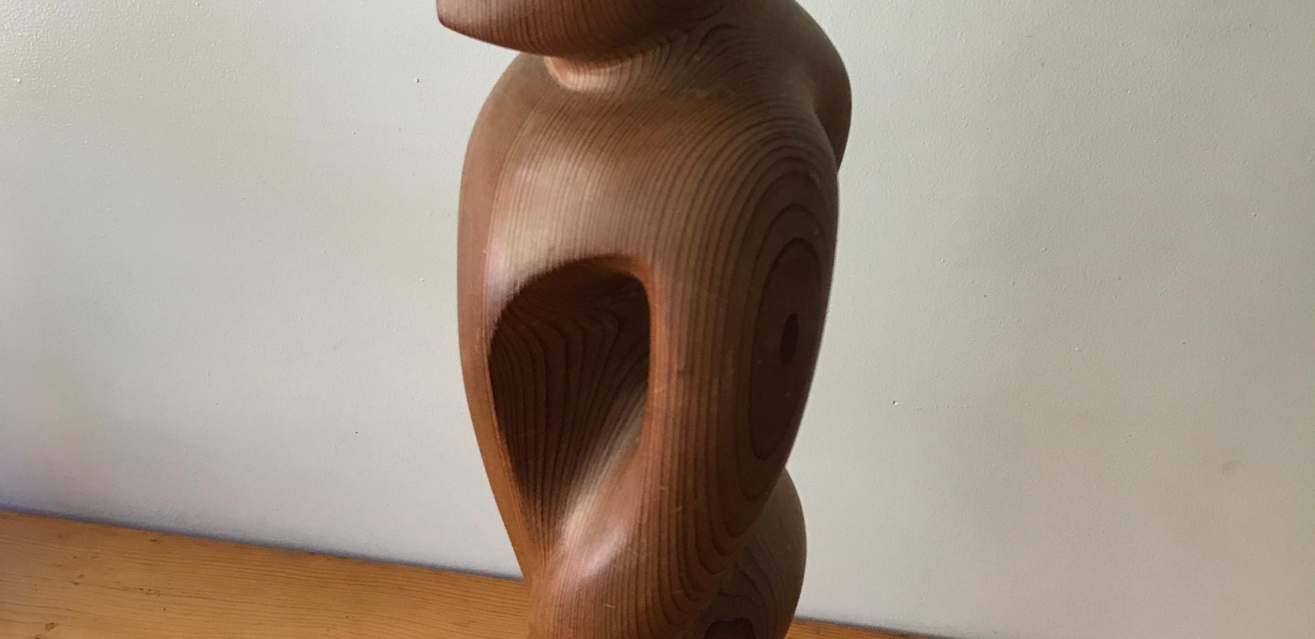 """Redwood Figure  Sculpture 80s (25""""tall)."""
