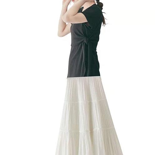 シャーリングプリーツロングスカート ホワイト