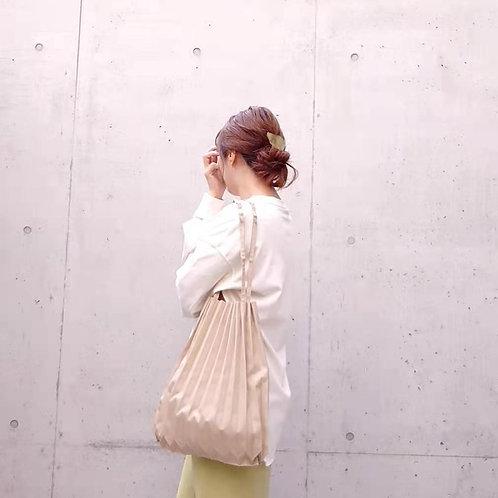 ◆折りたたみトートバッグ◆プリーツキャンバスバッグ ベージュ