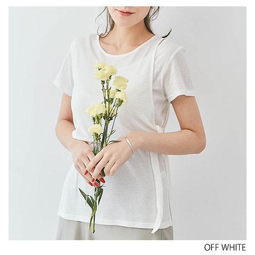 サイドリボンレイヤードデザインリブTシャツ