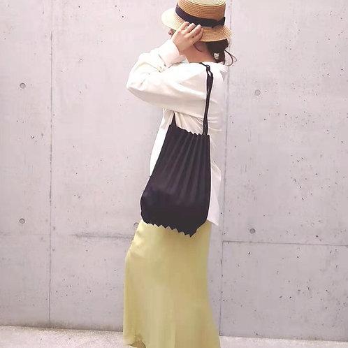 ◆折りたたみトートバッグ◆プリーツキャンバスバッグ ブラック