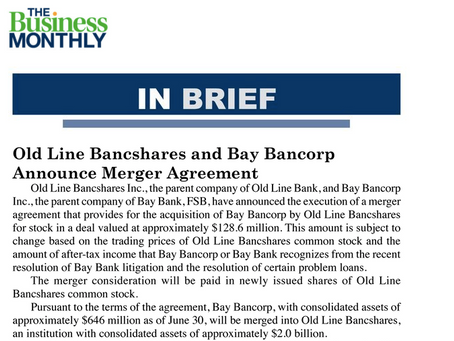 Old Line Bancshares and Bay Bancorp Announce Merger Agreement