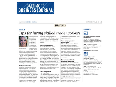 Help Desk: Tips for hiring skilled trade workers