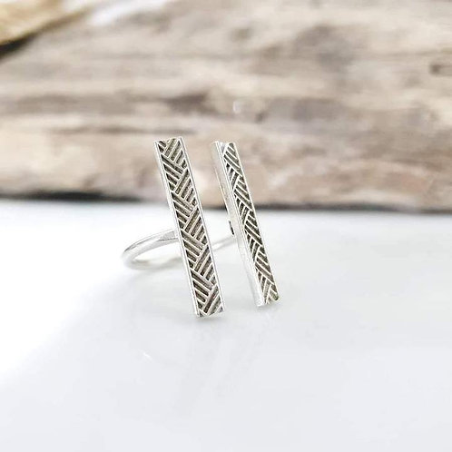 ADORN MADE TO ORDER - Woven Mat Pasifika Ring - 925 Sterling Silver