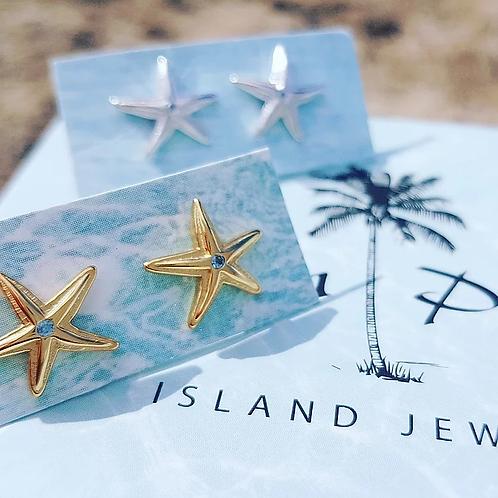 ADORN Mini Starfish Stud Earrings - Silver or Gold