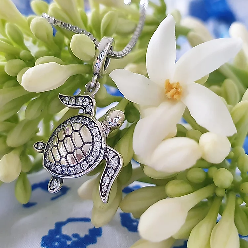 ADORN Tapa Turtle Charm Necklace