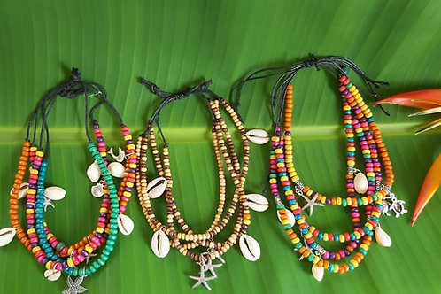 HANALEIA Multi Coloured Anklets 4 strand