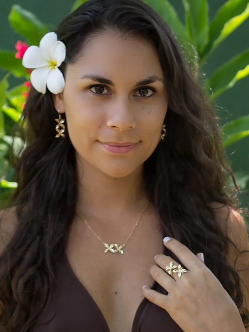 ADORN Frangipani Bua Necklace - Silver or Gold