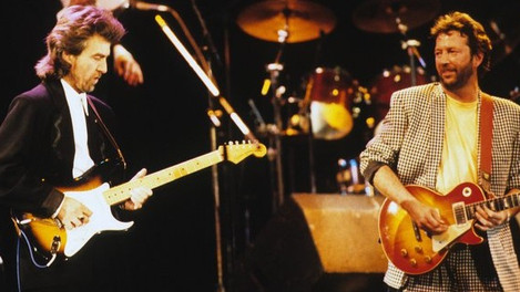 """George Harrison with Eric Clapton - """"While my Guitar Gently Weeps"""" - Live 1987"""