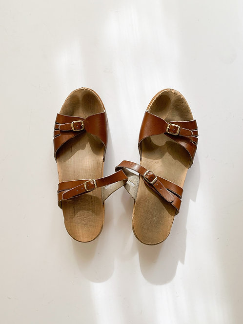 Leather + Wood Sandals | US 10.5