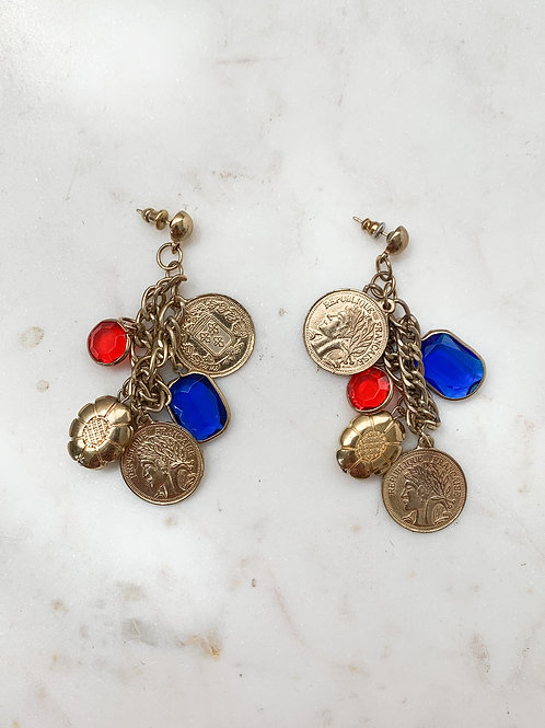 French Coin Cluster Earrings
