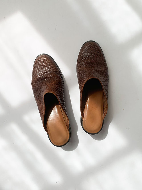 Woven Leather Mules | US 6