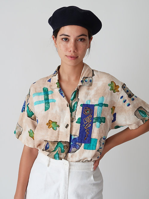 Abstract Short Sleeve Blouse