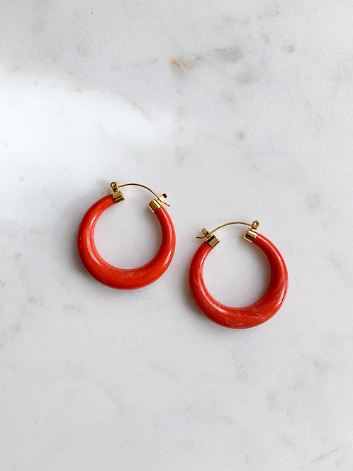 Coral Lucite Hoops