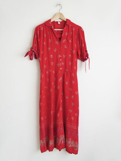 Red 90's Floral Dress