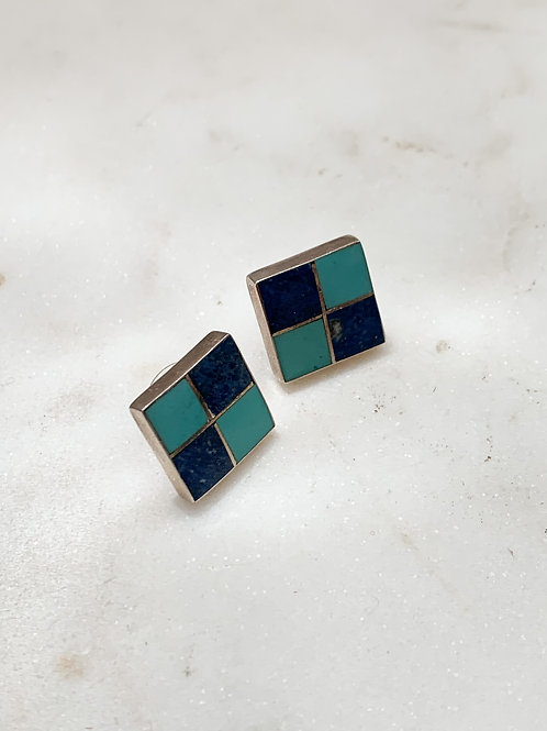 Sterling Checkered Inlay Studs