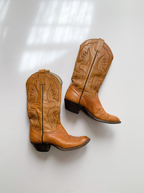 Leather Cowboy Boots   US 8