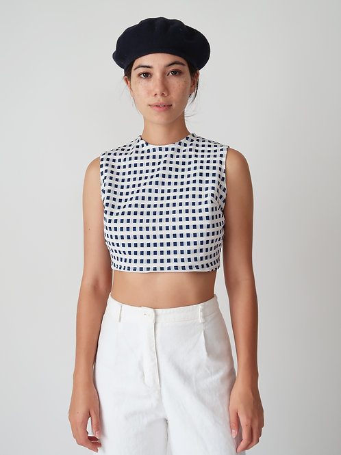 Cropped Square Print Top