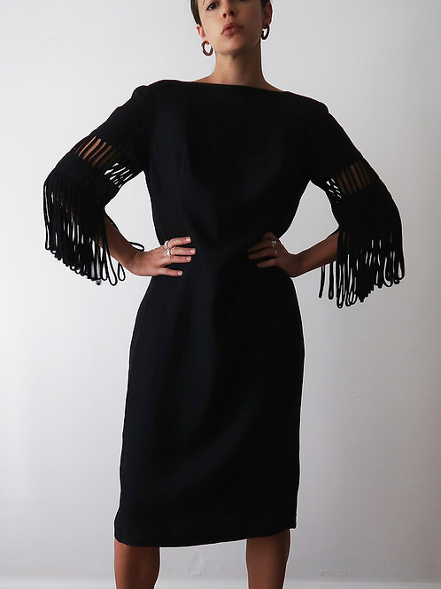 Black Fringe Sleeve Dress