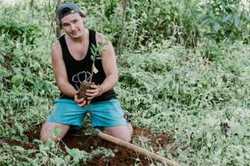 A volunteer plants an orange tree for Project Orange Elephant