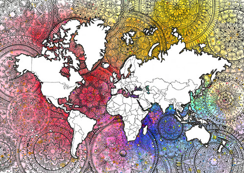 Rainbow Outside Mandala World Map - Mandala map of the world