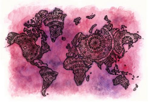Pink purple inside mandala world map laree wasson art pink purple mandala world map is a copy print of the original artwork gumiabroncs Images