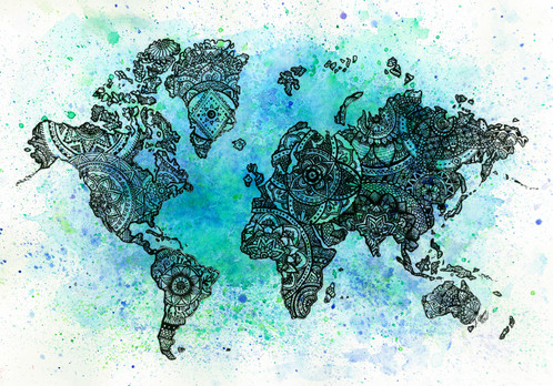 Blue Inside Mandala World Map - Mandala map of the world
