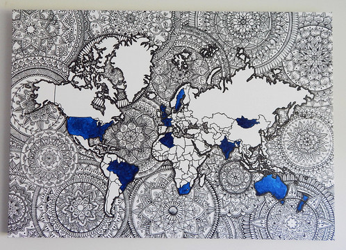 Mandala World Map No Colour Your Countries Laree Wasson Art - World map no colour