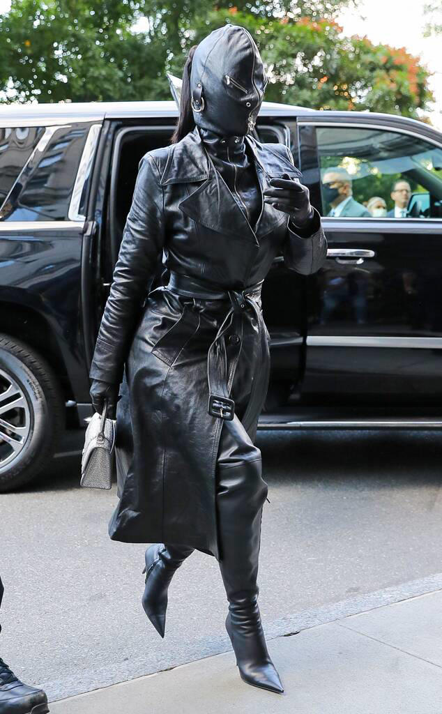 Kim Kardashian Covers Her Whole Face With Head-to-Toe Leather Outfit in NYC During Fashion Wee
