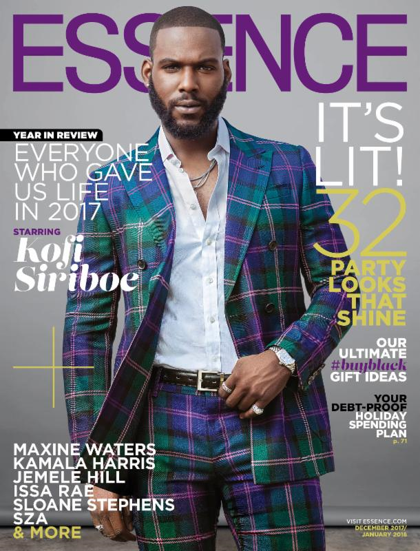 ACTOR KOFI SIRIBOE FOR ESSENCE  MAGAZINE 2017 DECEMBER ISSUE