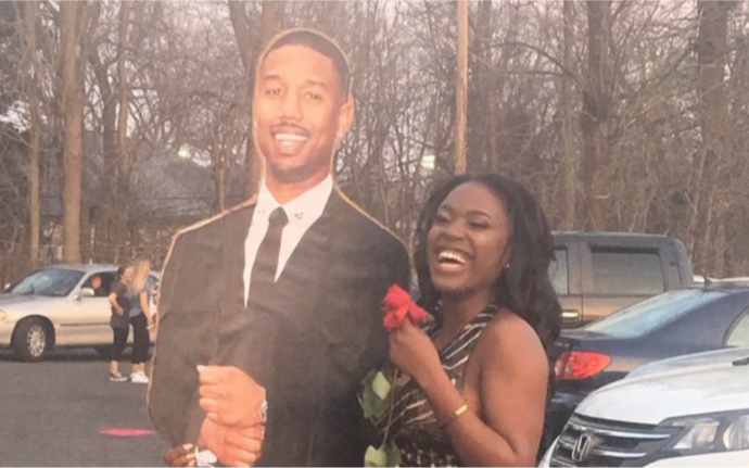 A teen brought a cutout of Michael B. Jordan to prom as her date