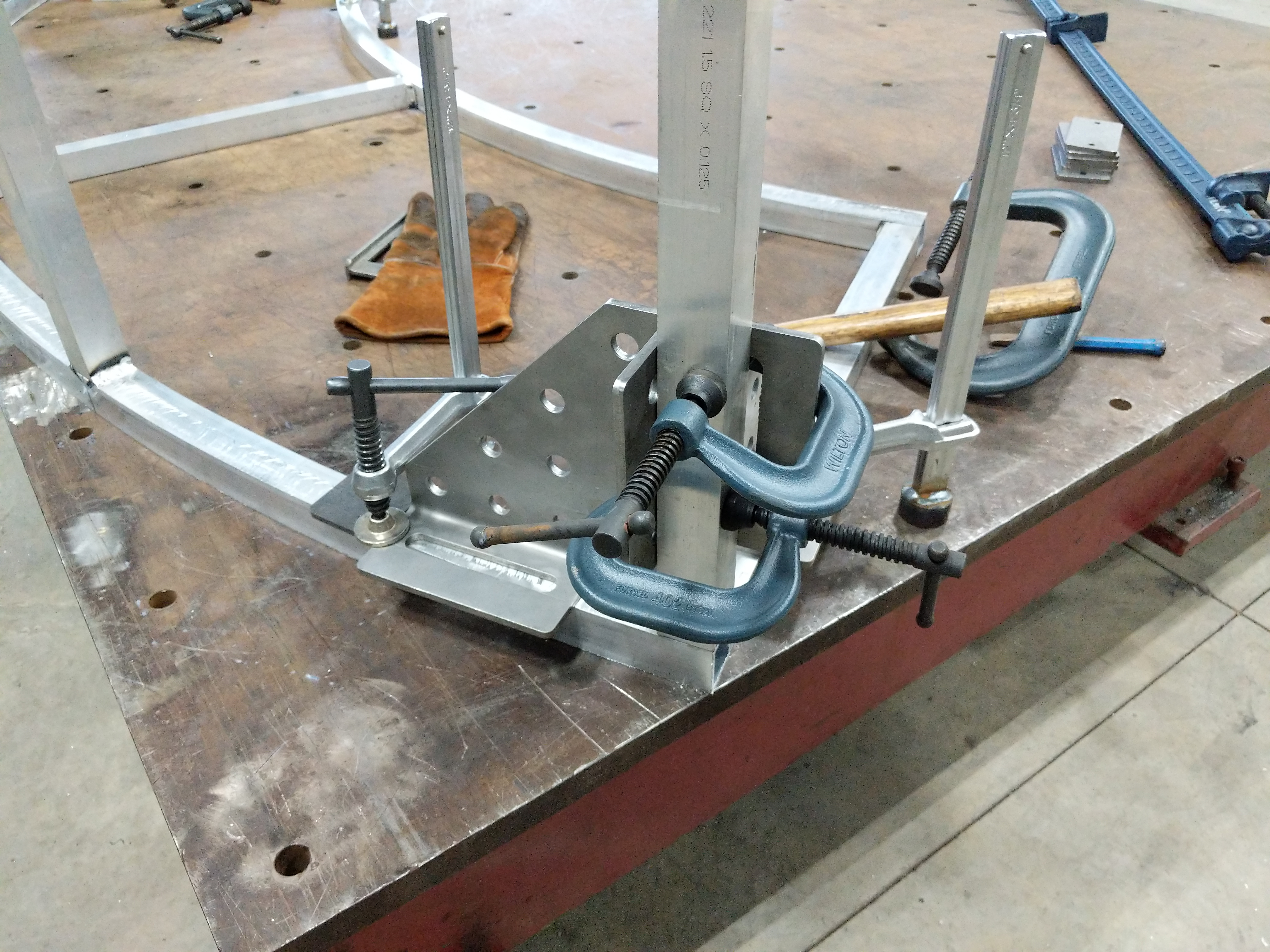 Aluminum frame being fit-up for weld