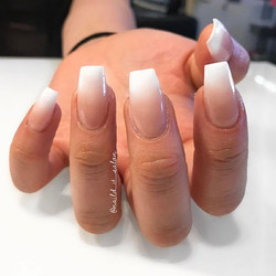 White and nude ombre coffins #nailditsalon #naildithollywood #ombrenails #coffinnails