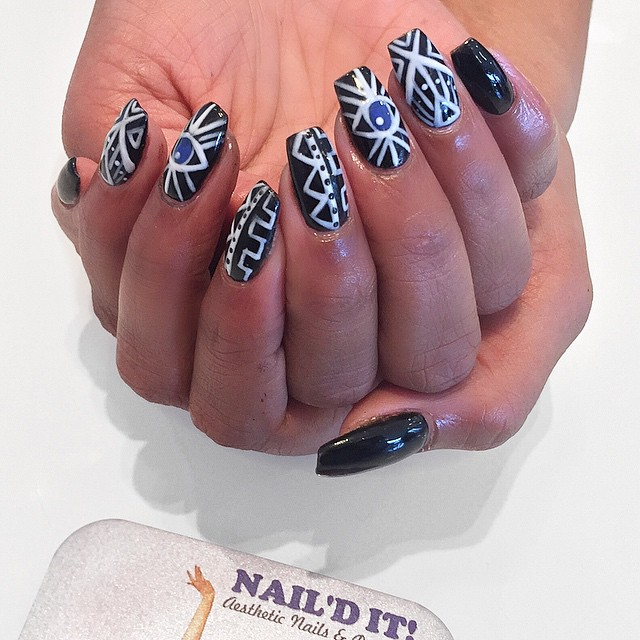 Hand painted Evil eyes by_ _lipstickmixtapes Pleasure havin' you _skyesfallin _#nailditsalon#hollywo