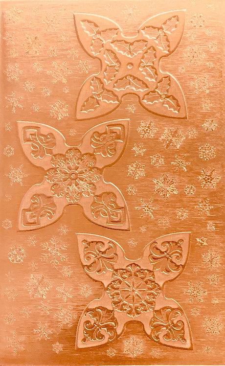 """3 Small Jingle Bells Copper Pattern Pressing 2-1/2"""" X 4"""""""