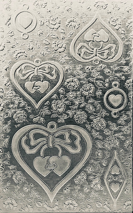 "Medium & Small Hearts & Bows Sterling Silver Pattern Pressing 2-1/2"" X 4"""