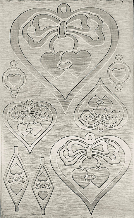 """Hearts & Bows Sterling Silver Pattern Pressing 2-1/2"""" X 4"""