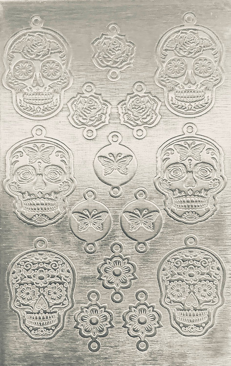 Sugar Skulls Earrings & Links Sterling Silver Pattern Pressing 1