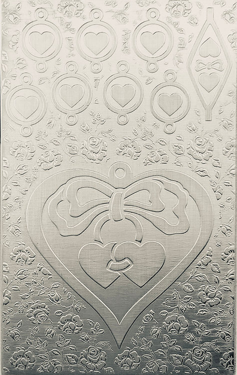 """Large Hearts & Bows Sterling Silver Pattern Pressing 2-1/2"""" X 4"""