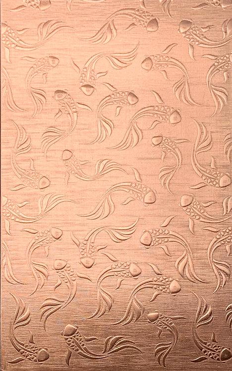 "Koi Background Large Copper Pattern Pressing 2-1/2"" X 4"""