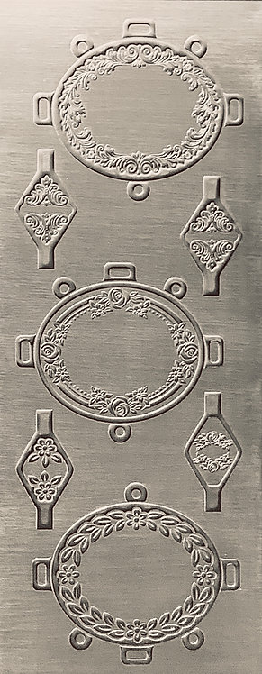 Rustic Floral Frame with Bales Sterling Silver Pattern Pressing
