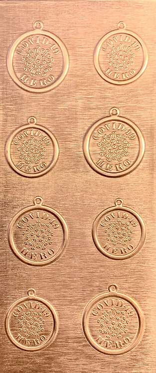 Covid-19 Hero Pendants and Earrings Copper Pattern Pressing
