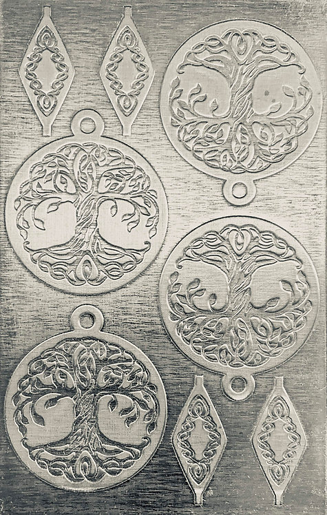 """Celtic Tree of Life Reverse Sterling Silver Pattern Pressing 2-1/2"""" X 4"""""""