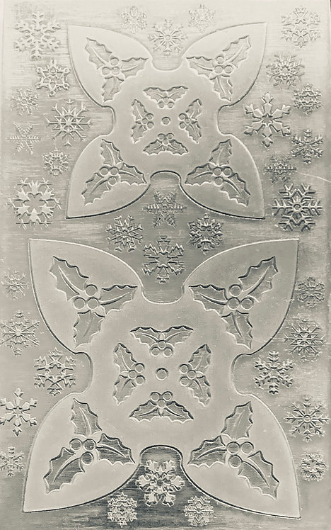 """Holly Jingle Bell Sterling Silver Pattern Pressing 2-1/2"""" X 4"""""""