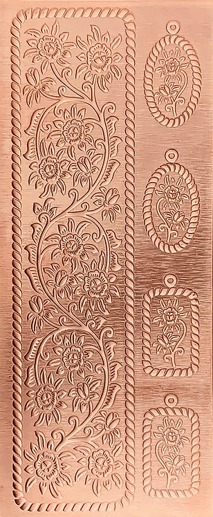 Cowgirl Rustic Blooming Vine Cuff and Earrings Copper Pattern Pressing