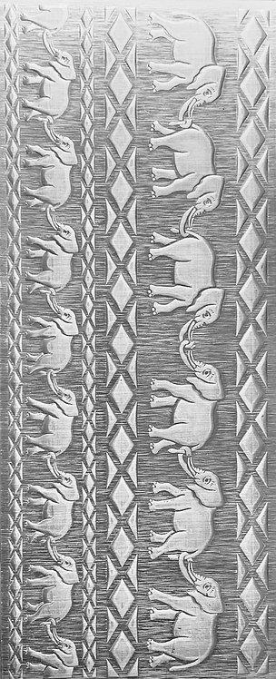 African Elephants Cuff Bracelets Sterling Silver Pattern Pressing