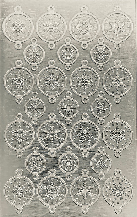 """Round Snowflake Links Sterling Silver Pattern Pressing 2-1/2"""" X 4"""""""
