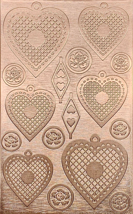 """Cross Hatched Hearts Copper Pattern Pressing 2-1/2"""" X 4"""""""