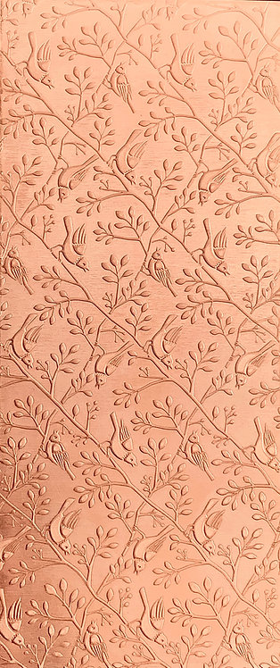 Birds on Branches Horizontal Background Copper Pattern Pressing