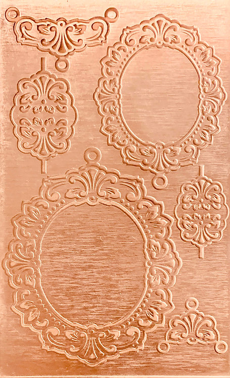 "Nouveau Backplates Copper Pattern Pressing 2-1/2"" X 4"""